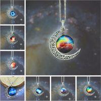Wholesale Moon Necklace Colors - 12 colors Vintage moon necklace starry Moon Outer space Universe Gemstone necklaces pendants Chain jewelry Children Accessories B001