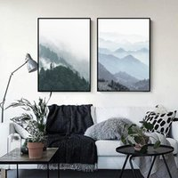 Wholesale Oil Painting Landscapes Dark - 2 paintings for the dark blue forest home decoration painting wall art painting fashion murals