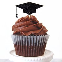 Wholesale Cupcake Wrappers For Sale - Wholesale- Hot Sale Event Party Supplies Birthday Decoration Cupcake Wrappers black graduation hat For Kids graduation Party Cup Cake