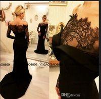 Wholesale zuhair murad black flower dress resale online - Zuhair Murad Black Lace Evening Gowns with Long Sleeves Arabic Dubai Women Wear Curved Off Shoulder Mermaid Formal Prom dresses