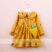 Wholesale Vintage Lovely Bag - Everweekend Girls Carrot Ruffles Dress with A Bag Western Fashion Vintage Korea Clothing Autumn Spring Lovely Dress