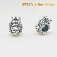 Wholesale 925 Silver Lion - Fits Pandora Bracelet&Charms LION CHARm DIY Beads Solid 925 Silver Not Plated