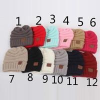 Wholesale Newborn Boy Beanie Hats - New Baby Hats CC Trendy Beanie Crochet Fashion Beanies Outdoor Hat Winter Newborn Beanie Children Wool Knitted Caps Warm Beanie A7573