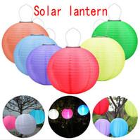 ingrosso luce cinese impermeabile-30CM LED Lanterne solari all'aperto impermeabile appendere le luci a sospensione Festival LED appendere lanterne Luci celebrazione cinese