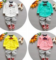 Wholesale Cute Bow Ties Girls - 2016 Spring of new children's clothing Children Suit Boys Outfit bow tie shirt+ stripe casual pants Boy Suit Toddler Newborn Set Baby Wear