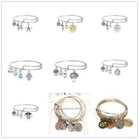 Wholesale Luxury Statement - Luxury Bracelets Adjustable Charm Statement Bracelets Silver Gold Bangle With Tree Of Life Palm Wish Anchor Sea Horse Charms Jewelry