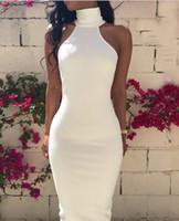ingrosso abiti da sposa lunghezza alla caviglia moderna-Abiti da sposa sexy semplici Glamorous White Modern Illuaion Corpetto Perline Collo alto in raso Senza maniche Backless Bottone coperto Lunghezza caviglia