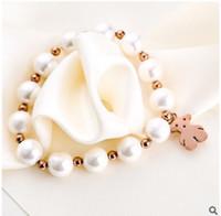 Wholesale Silver Bracelet Long - 18 k rose gold Steel titanium pearl little bear bracelets bangle elastic pearl beaded long lasting color preserving