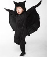 Wholesale batman costumes for sale - Child Animal Cosplay Cute Bat Costume Kids Halloween Costumes For Girls and boys Black Jumpsuit Connect Wings Cosplay Batman PS003