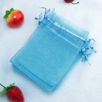 Wholesale Organza Bags 5x7cm - Lake Blue Bolsas Organza Drawstring Pouches Jewelry Party Small Wedding Favor Gift Bag Packaging Gift Candy Wrap Square 5X7cm 2X2.75'' 100pc