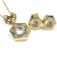 Wholesale Gold Tone Wedding Jewelry - Hot selling Gold tone Stainless Steel Jewelry Stes Brand Women Earrings & Necklace Jewelry Set For Female