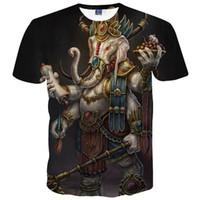 Wholesale Elephant Tee - New Men Women 3d T-shirt Funny Print Religion Elephant God Geneisha Ganesh T Shirt Summer Tops Tees