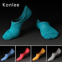 Wholesale Eco Styling Gel - Konlee Men's Sock slipper 80% Combed Cotton 6 colors 6.5-9.5 US size stripe Soft japanese style Eco friendly Anti falling Silica gel