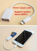 Wholesale Ipad4 Cables - For iPhone7 iPhone 7 6s 6 plus iPad4 OTG usb data adapter cable USB2.0 external usb cable for U flash disk camera