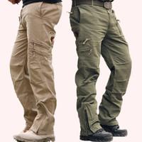fadiga verde venda por atacado-Baggy men's camo moda preto verde ao ar livre estilo militar cansaço do exército camuflagem calças de carga pant tático khaki para homens 28-38