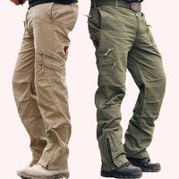ingrosso baggy khaki-Uomini larghi Camo moda Nero verde all'aperto Stile militare Esercito fatica Pantaloni mimetici Pantaloni cargo Tactical KHAKI PER Uomini 28-38
