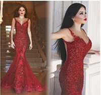 Wholesale Mermaid Style Sequin Prom Dress - 2017 Arabic Style Burgundy See Through Back Mermaid Evening Dresses Red Dubai Long Sequins Sweetheart Lace Appliques Prom Pageant Dresses
