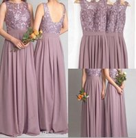 Wholesale Mauve Bridesmaid - Dusty Mauve Bridesmaid Dresses For Weddings Real Photos Chiffon Jewel Open Backless Prom Gowns Pleat With Lace 2016 Formal Maid of Honor