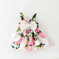 Wholesale Beach Wear Clothing - 2016 summer baby girls sets lemon print cotton sling children sets cute Kids Clothes Children Beach Wear sets kids clothes