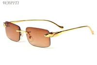 dame lunettes de soleil or achat en gros de-Mens Designer Lunettes de Soleil Sans Monture 2017 Marque Designer Summer Styles Mode Lady Shades Argent Or Métal Lunettes Lunettes