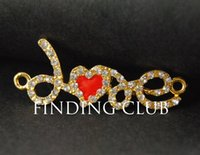 Wholesale Gold Rhinestone Love Connectors - 10 pcs Gold tone Rhinestone Love Bracelet Connector Charm Necklace Findings RS402