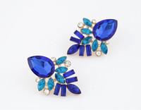 Wholesale Dark Red Crystal Jewelry - Red Blue Black Dark pink Stud Earrings 10PRS Elegant Party Jewelry Earring Women Gold Plated Crystal Earrings Free Shipping