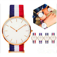 Wholesale Birthday Gift Watches For Women - Luxury Brand Watch Fashion Men Women Unisex Nylon Strap Military Quartz Wristwatch Gold Silver Dial Watches For Chirstmas Birthday Gift