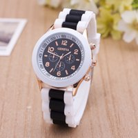 Wholesale Strap Duo - Newest Fashion Geneva Silicone Quartz Watch Three circles Display duo color White Strap Candy Color Rubber Girls Ladies Women watches