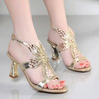 Wholesale gold encrusted - Summer 2016 New sandals with diamond-encrusted heels sexy female diamond han edition thick with shoes