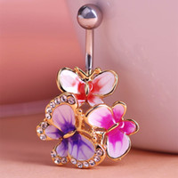 Wholesale Sexy Girl Navel - 4pcs lotsEpoxy Enamel Esmalte Colares Butterflys Belly Button Rings Sexy Body Piercing Jewelry Bars Piercings Navel Piercing Gothic