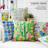 Wholesale Decorative Fashion Fabric - 45cm Fashion Everything gonna be alright Flowers Cotton Linen Fabric Waist Pillow 18inch Hot Sale New Home Decorative Sofa Car Back Cushion