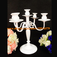 Wholesale cheap wedding candle centerpieces for sale - White cheap small elegant tealight metal candle holder for wedding centerpieces candelabra home decor