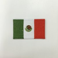 "Wholesale Wholesale Customized Patches - Professional computer embroidery patch Mexico national flag 2.5""W*1.5""H hot cut Iron on 100%emb free shipping can be customized"