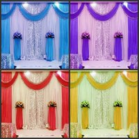 Wholesale Wedding Centerpieces Beads - 3m*6m wedding backdrop swag Party Curtain Celebration Stage Performance Background Drape With Beads Sequins Edge free shipping