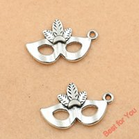 Wholesale Silver Mask Charms - 100pcs Tibetan Silver Tone Mask Charms Pendants For Jewelry Making Diy Handmade 26x10mm jewelry making