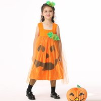 Wholesale Holiday Clothing For Boy - Girls pumpkin lace princess dress 2pc sets hariband+vest dress kids holloween party cosplay costume dress performance clothing for 3-9T