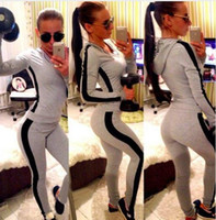 Wholesale Womens Piece Pant Suits - Womens Tracksuit Set 2016 Lady V Neck Long Sleeve Sweatshirt Tops Pants Suit Casual 2 piece Set women sweat suits sweatsuit