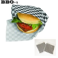 Wholesale Sandwich Wraps - Hot 24pcs Black Sandwich Wrapping Paper Checkered Wax Liners Greaseproof Hamburger Wrapping Paper For Sandwich Bakery Deli Food