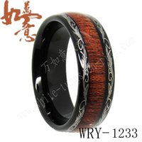 Wholesale Wood Inlay Rings - Koa Wood Inlay Black Tungsten Ring Bands for Men WRY-788 8mm width
