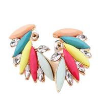 Wholesale Neon Fashion Jewelry Earrings - Canlyn Jewelry Fashion Neon Color Acrylic Crystal Angel Wings Leaf Stud Earrings bijouterie