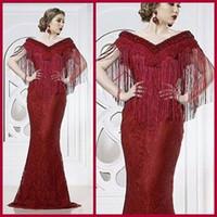 Wholesale green fringe dress - Burgundy 2016 Noble Evening Dresses Full Lace Mermaid gowns Beaded Appliqued V Neckline with Fringes Floor Length Prom Dresses
