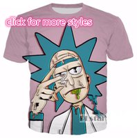 New Fashion Couples Homens Mulheres Unisex Rick and Morty Funny 3D Print No Cap Casual T-Shirts Tee Top Atacado S-5XL T7