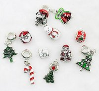 Wholesale Snowmen Beads - 100pcs 11Style Christmas tree snowman Charms Jewelry Interchangeable Jewerly Charms Pendants Necklace Mixes 2016 Charms