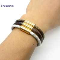 Wholesale Silver Plated Bracelets For Sale - 2017 Hot Sale New Fashion Luxury Brand Jewelry 316l Stainless Steel Bracelets Bangles Pulseiras Leather Bracelets For Women  Men