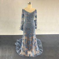 Wholesale Big Ruffle Dresses - 2017 Mermaid Evening Dresses Sheer Long Sleeves Lace Applique Big Bow Pageant Prom Party Gowns Custom Made