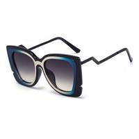 Wholesale Sexy Lens - Kunef-Square Sexy Oversized Cateye Sunglasses Women Fashion Blue Mirror Summer 2016 Women Sunglasses UV400 Oculos Feminino CCD238