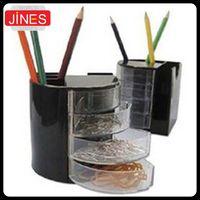 Wholesale Black Desk Organizers - 2pcs lot Pencil Holder  Organizer Office School Desk Black Pen Containers Cosmetic Plastic Pen Multifunction stationery