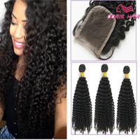 afro, das haareinschlagfaden trägt großhandel-Afro kinky Curly Menschenhaar-Einschlagfäden mit Lace Closure Brasilianische indische reine Haarwebart 3pieces Natürliche Farbe färbbares Haareinschlagfaden