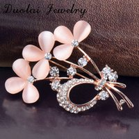 Wholesale Clover Brooch Pin - High Quality Opal Inlay Crystal Clover Brooches Gold Plated Alloy Fashion Decoration Brooch Pins For Wedding Jewelry
