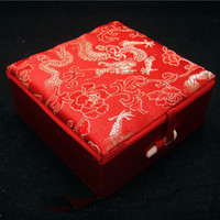 Wholesale brocade case - Ethnic Dragon Bracelet Gift Jewelry Box Cotton filled Display Case Chinese Silk brocade Cardboard Decorative Packaging Boxes
